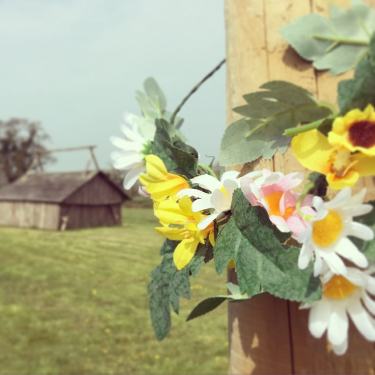 Hen do flowers with barn in background