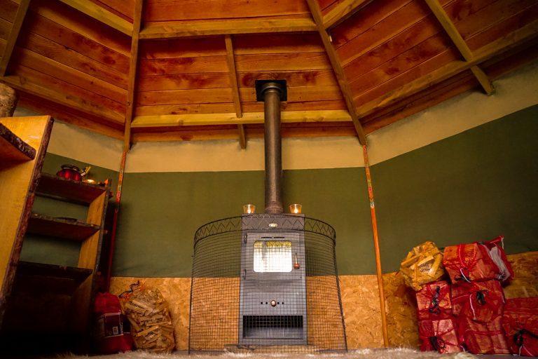 Yurt Glamping in Devon_log burner