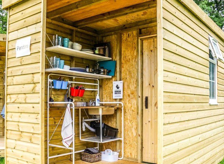 Yurt Glamping in Devon_new Bathroom:kitchen